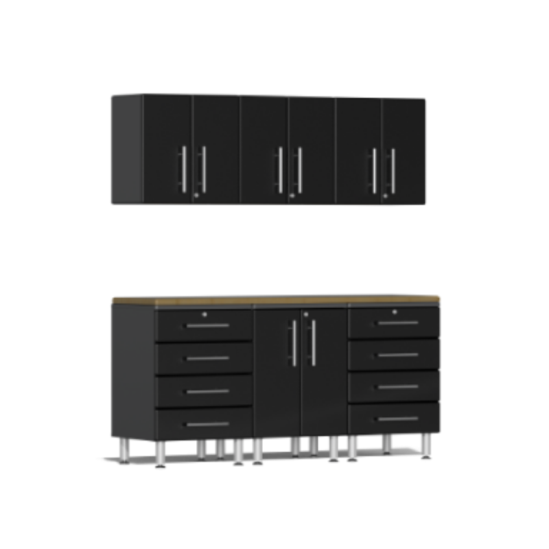 Ulti-MATE Garage 2.0 Series 7-Piece Black Kit with Bamboo Worktop