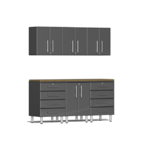 Image of Ulti-MATE Garage 2.0 Series 7-Piece Grey Kit with Bamboo Worktop