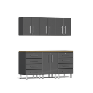 Ulti-MATE Garage 2.0 Series 7-Piece Grey Kit with Bamboo Worktop
