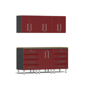 Ulti-MATE Garage 2.0 Series 7-Piece Red Kit with Bamboo Worktop