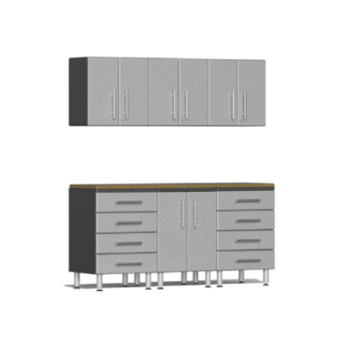 Image of Ulti-MATE Garage 2.0 Series 7-Piece Silver Kit with Bamboo Worktop