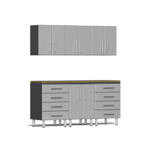 Ulti-MATE Garage 2.0 Series 7-Piece Silver Kit with Bamboo Worktop
