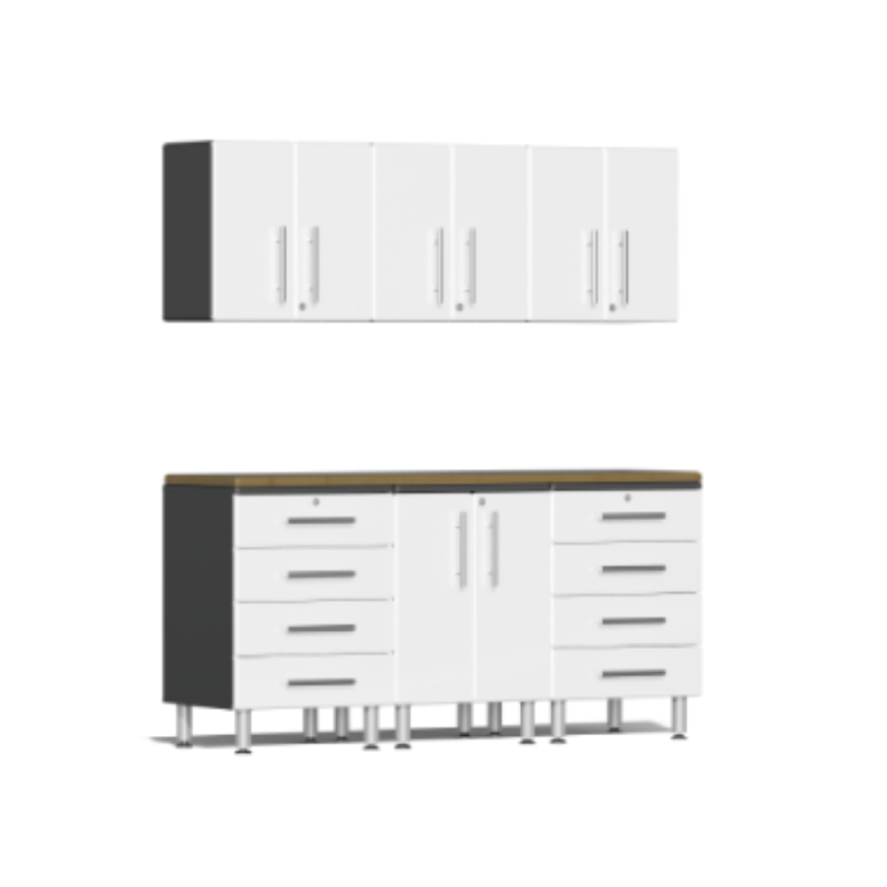 Ulti-MATE Garage 2.0 Series 7-Piece White Kit with Bamboo Worktop
