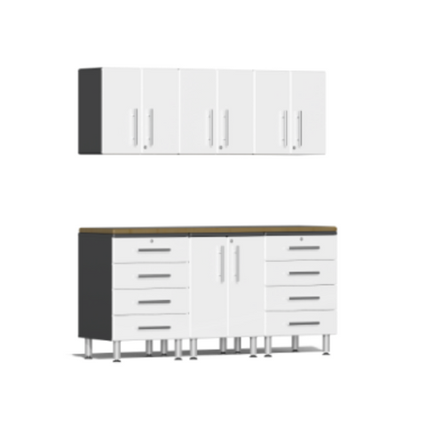 Image of Ulti-MATE Garage 2.0 Series 7-Piece White Kit with Bamboo Worktop