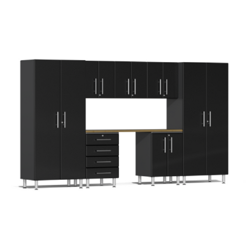 Image of Ulti-MATE Garage 2.0 Series 8-Piece Black Kit with Bamboo Worktop