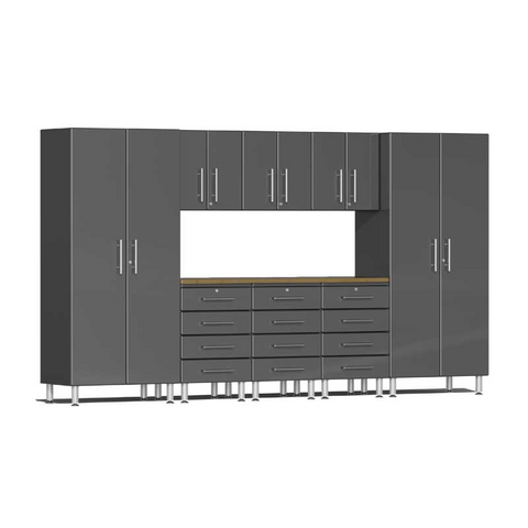 Image of Ulti-MATE Garage 2.0 Series Grey 9-Piece Kit with Bamboo Worktop