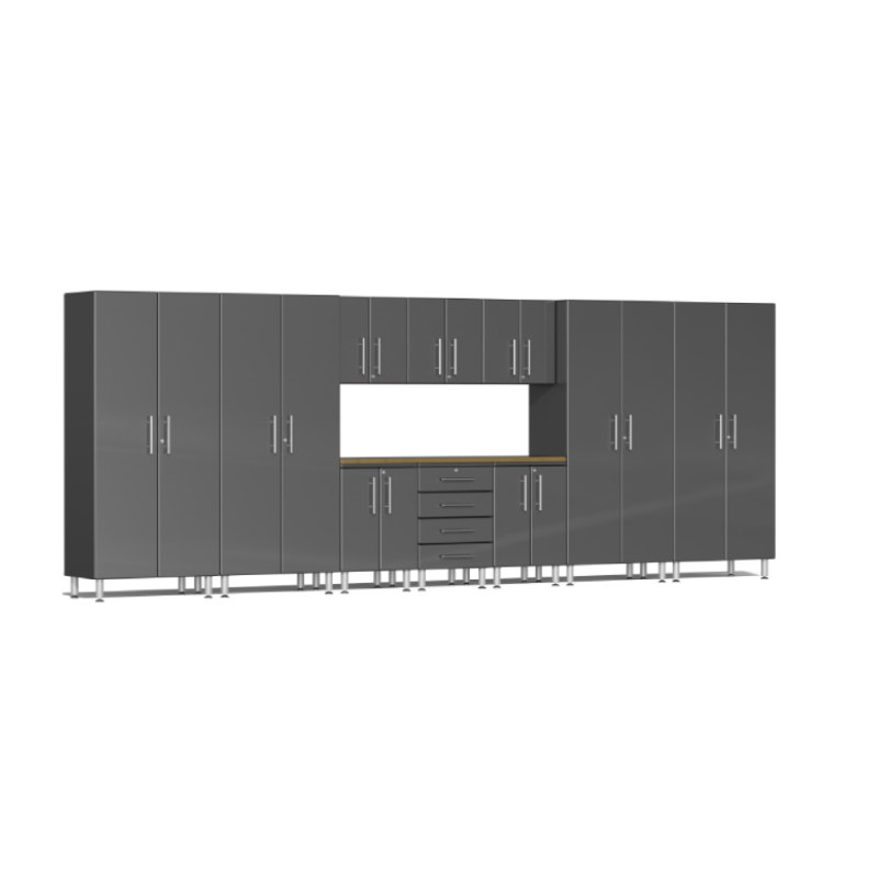 Ulti-MATE Garage 2.0 Series 11-Piece Grey Kit with Bamboo Worktop