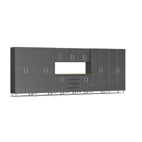 Image of Ulti-MATE Garage 2.0 Series 11-Piece Grey Kit with Bamboo Worktop
