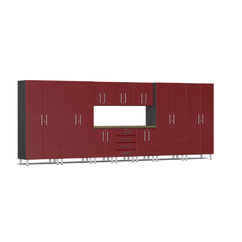 Ulti-MATE Garage 2.0 Series 11-Piece Red Kit with Bamboo Worktop