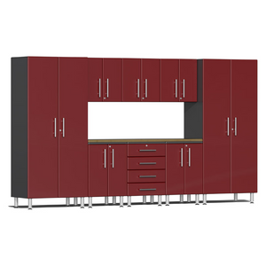 Ulti-MATE Garage 2.0 Series Red 9-Piece Kit with Bamboo Worktop