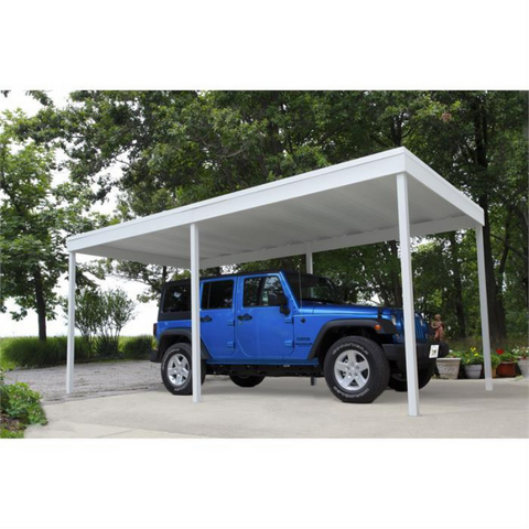 Arrow CP1010 Freestanding Carport/Patio Cover, 10x10, Hot Dipped Galvanized Steel with Vinyl Coating, Eggshell Finish, Flat Roof