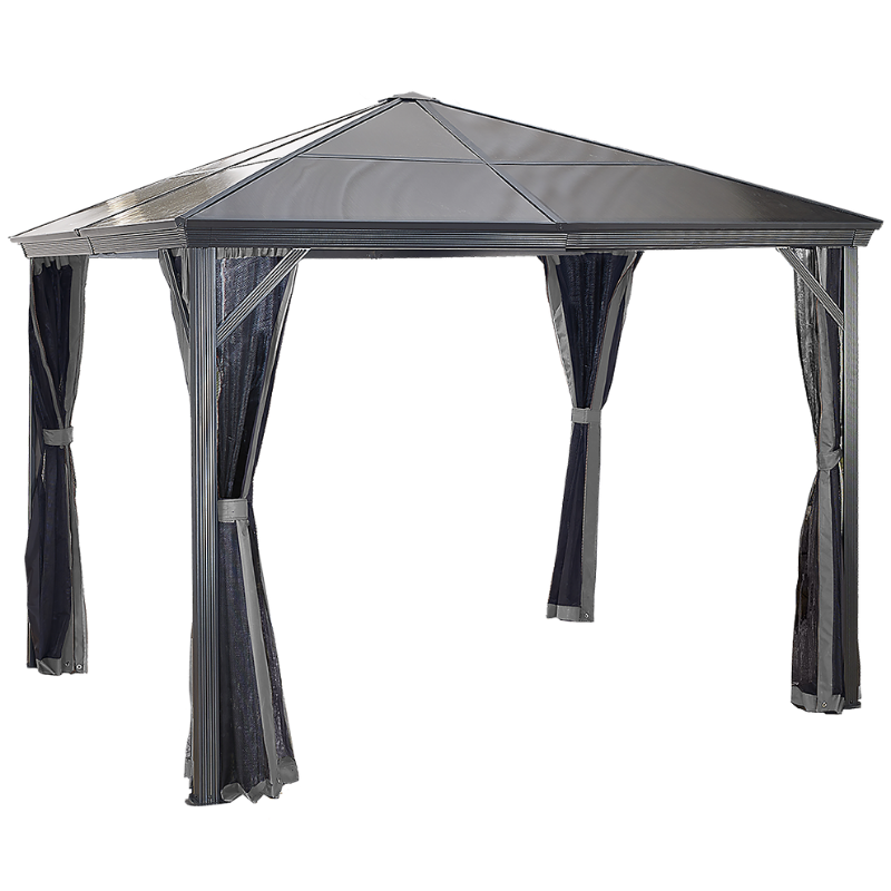Sojag Verona 10x10 Hard Top Gazebo with Polycarbonate Roof & Mosquito Netting