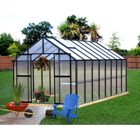 Image of Monticello MONT-16-PREMIUM Monticello Greenhouse 8FTx 16FT - Black Finish - Premium Package