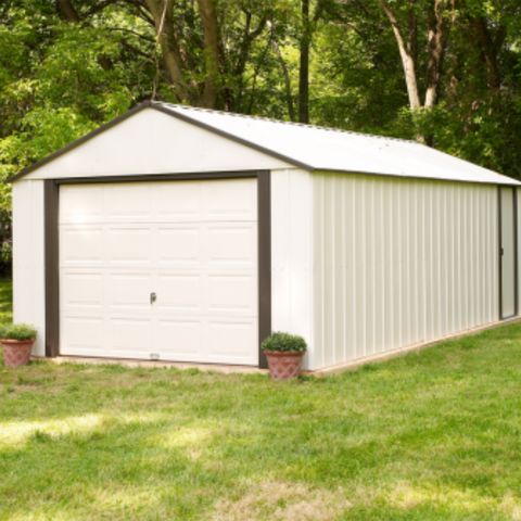 "Arrow VT1210-A Murryhill, 12x10, Vinyl Coated Steel, Coffee / Almond, High Gable, 73.8"" Wall Height, Roll-up Garage Door"