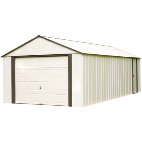 "Arrow VT1421-A Murryhill, 14x21, Vinyl Coated Steel, Coffee / Almond, High Gable, 73.8"" Wall Height, Roll-up Garage, Door"
