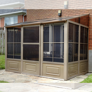 Gazebo Penguin™ Sunroom Patio Enclosure Kit 8 Ft. x 12 Ft Sand Tan with Polycarbonate Roof