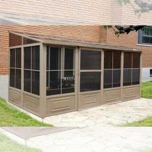 Gazebo Penguin™ Sunroom Patio Enclosure Kit 10 Ft. x 16 Ft Sand Tan with Polycarbonate Roof