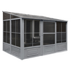 Gazebo Penguin™ Sunroom Patio Enclosure Kit 8 Ft. x 12 Ft Slate Gray with Polycarbonate Roof