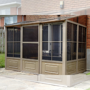 Gazebo Penguin™ Sunroom Patio Enclosure Kit 8 Ft. x 16 Ft Sand Tan with Polycarbonate Roof
