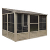 Gazebo Penguin™ Sunroom Patio Enclosure Kit 10 Ft. x 12 Ft Sand Tan with Polycarbonate Roof