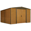 Arrow WR106 Woodridge, 10x6, Electro Galvanized Steel, Coffee / Woodgrain, Low Gable, 71.3 Wall Height, Sliding Doors