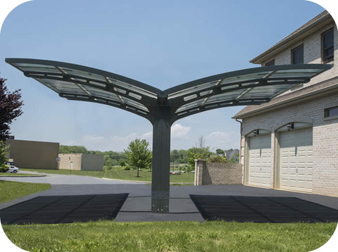 Palram HG9101 19'W x 16'L x 9'H Arizona Wave Double Wing-Style Carport Kit