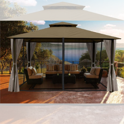 Image of Paragon Outdoor Kingsbury 11x14 Gazebo with Sand Top, Mosquito Netting, Privacy Curtains