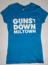Load image into Gallery viewer, Azure Blue Ladie Warrior Guns Down Miltown T Shirt (limited)