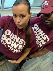 Burgundy Guns Down Miltown T-shirt