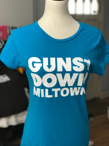 Azure Blue Lady Warrior Guns Down Miltown T Shirt (limited)