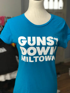 Azure Blue Ladie Warrior Guns Down Miltown T Shirt (limited)