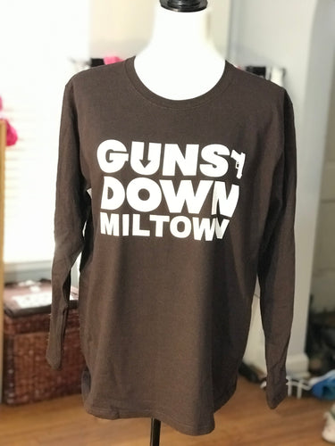 Dark Brown Guns Down Miltown Womens Long Sleeve