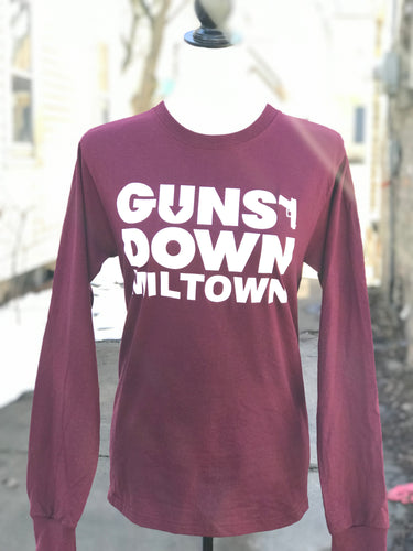 Burgundy Guns Down Miltown Long Sleeve Unisex