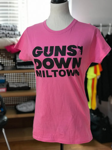 Powder PINK Fitted Guns Down Miltown Ladies T Shirt
