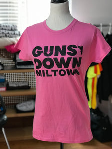 Powder Pink Guns Down Miltown Womens T Shirt w/ Black Logo