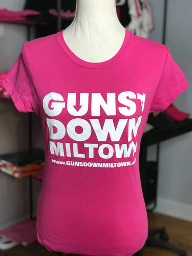 Pink Lady Warrior Guns Down Miltown T Shirt (limited)