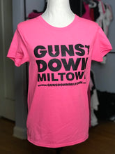 Load image into Gallery viewer, Light Pink Lady Warrior Guns Down Miltown T Shirt w/ Black Logo (limited)