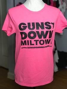 Light Pink Lady Warrior Guns Down Miltown T Shirt w/ Black Logo (limited)