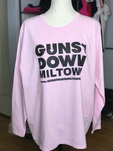 Powder Pink Guns Down Miltown Ladies Long Sleeve (limited)