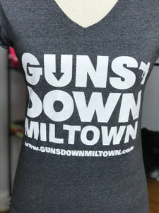 Dark Grey Lady Warrior Guns Down Miltown VNECK T Shirt (limited)