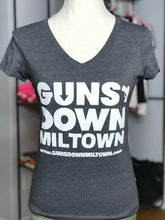 Load image into Gallery viewer, Dark Grey Lady Warrior Guns Down Miltown VNECK T Shirt (limited)