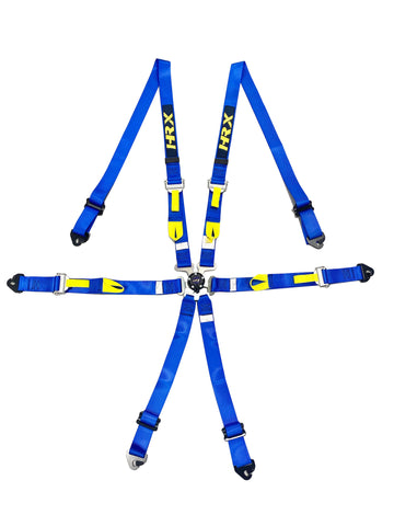 HRX 6 Point Hans Seat Belt Blue