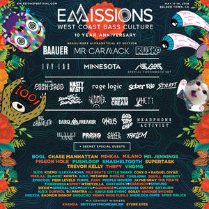 Emissions West Coast Bass Culture 10 Year Anniversary in Belden Town CA May 11-14 2018