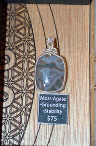 Moss Agate Wire Wrap in Sterling Silver