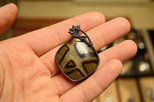 Septarian Wire Wrap in Oxidized Sterling Silver