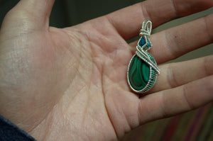 Shattuckite and Malachite Wire Wrap in Sterling Silver