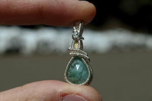 Fire Opal and Emerald Wire Wrap in Sterling Silver