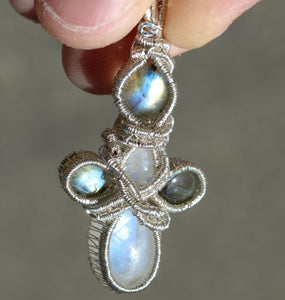 Rainbow Moonstone and Labradorite Wire Wrap in Sterling Silver
