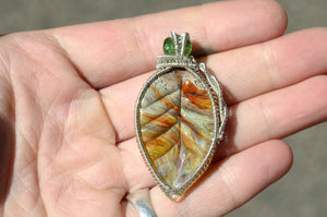 Hand Blown Glass Leaf Wire Wrap in Sterling Silver