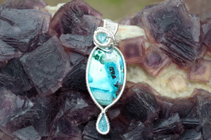 Blue Apatite and Chrysacholla Azurite and Malachite Wire Wrap in Sterling Silver